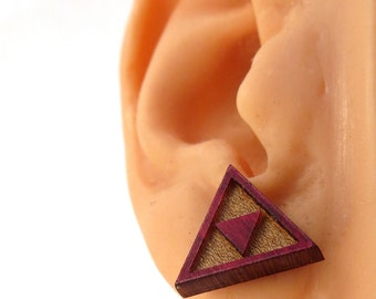 Tri Force Sustainable Wooden Post Earrings - Triforce Red Maple Wood Studs - Zelda Fan Gift