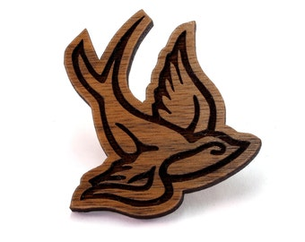 Sparrow Wood Pin - Walnut, Oak, Red Stained Maple, or Black Stained Maple - Bird Wooden Hat Pin