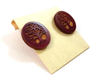 Large Tree of Life Sustainable Wooden Post Earrings - Red Stained Maple Wood Studs