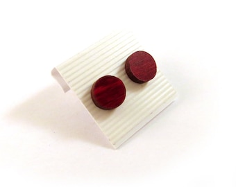 Simple Circle Sustainable Wooden Post Earrings - Small - Red Stained Maple Round Dot Wood Studs