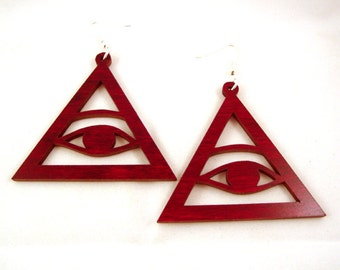 Sustainable Wooden Hook Earrings - Eye of Providence - simple - in Red Stained Maple