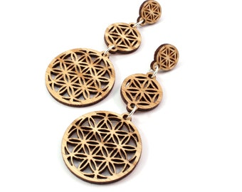 Sacred Geometry 3-Part Post Earrings - Sustainable Wooden Stud Earrings - in Oak - Flower of Life