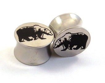 "Grizzly Bear Steel Plugs - 00g (10 mm) 7/16"" (11mm) 1/2"" (13mm) 9/16"" (14mm) 5/8"" (16mm) Metal Ear Gauges"