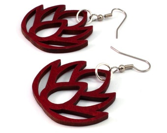 Simple Lotus - Sustainable Wooden Earrings - in Red Stained Maple, Black Stained Maple, Oak, Walnut - Dangle Drop