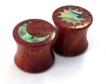 "Abalone Sun and Moon Inlay on Bloodwood Plugs PAIR 0g (8mm) 00g (9mm) (10mm) 7/16"" (11 mm) 1/2"" (13 mm) 9/16"" (14 mm) 5/8 (16 mm) Ear Gauges"