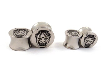 "Demon Surgical Steel Plugs - 00g (10 mm) 7/16"" (11mm) 1/2"" (13mm) 9/16"" (14mm) 5/8"" (16 mm) Metal Ear Gauges"