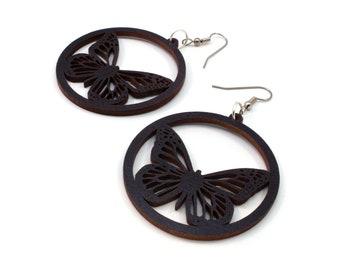 Monarch Butterfly Sustainable Wooden Hook Earrings - Black-Stained Maple, Red-Stained Maple, Walnut, or Oak Wood Dangle Earrings - 2 Sizes