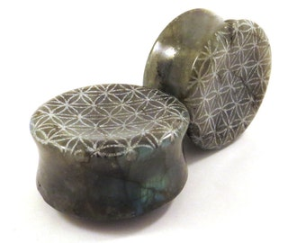 "Flower of Life Concave Labradorite Plugs - 1 1/4"" (32mm) Natural Stone Concave Sacred Geometry Ear Gauges"