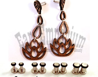 Dripping Lotus Flower Wooden Dangle Plugs on Single Flared 316L Surgical Steel Plugs - 8g (3mm) 4g (5mm) 2g (6mm) Metal Ear Gauges