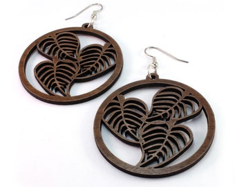 "3 Leaf Hoop Sustainable Wood Earrings - in Walnut, Oak, Red or Black Stained Maple - 3 Leaves in 2"" Hoop Dangle Drop Wooden Earrings"
