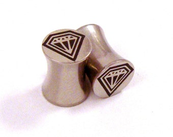 """Diamond Soul Surgical Steel Plugs - Double Flared - 2g 0g 00g (10mm) 7/16"""" (11 mm) 1/2"""" (13mm) 9/16"""" (14mm) 5/8"""" (16mm) Metal Ear Gauges"""