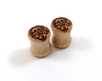 "Jerry Garcia Maple Wooden Plugs PAIR 0g 8mm 00g 9mm 10mm 7/16"" 11mm 1/2"" 9/16"" 5/8"" 16mm 3/4"" 19mm 7/8"" 1"" +up Grateful Dead Wood Ear Gauges"