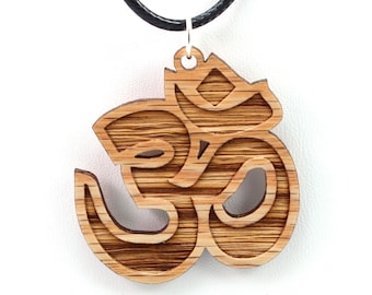 Om Wooden Pendant - Oak - Sustainable Wood Jewelry - 2 Sizes - SHIPS FREE