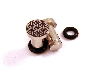 Flower of Life 316L Surgical Steel Plugs - Single Flared - 8g (3mm) 2g (6mm) Sacred Geometry Metal Ear Gauges