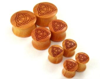 "Trinity Celtic Knot Osage Orange Wooden Celtic Plugs PAIR 2g (6.5mm) 0g (8mm) 00g (9mm) 10mm 7/16"" 1/2"" 9/16"" 5/8"" 3/4"" 7/8"" 1"" + Triquetra"