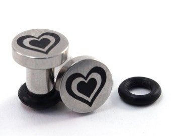 Heart Beat on Single Flared 316L Surgical Steel Plugs - 8g (3mm) 6g (4mm) 4g (5mm) 2g (6mm) Beating Hearts Valentine's Day Metal Ear Gauges