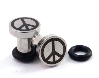Peace Sign on 316L Surgical Steel Plugs - Single Flared - 8g (3mm) 6g (4mm) 4g (5mm) 2g (6mm) Peace Symbol Metal Ear Gauges