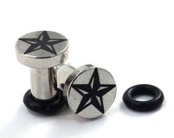 Nor Cal Star 316L Surgical Steel Plugs - Single Flared - 8g (3mm) 6g (4mm) 4g (5mm) 2g (6mm) Nautical Star Metal Ear Gauges - Made in PA