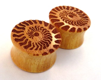 "Ammonite Osage Orange Wooden Plugs PAIR 0g (8mm) 00g (9mm) (10 mm) 7/16"" (11mm) 1/2"" (13mm) 9/16"" (14mm) 5/8"" 11/16"" 3/4"" 7/8"" 1"" Ear Gauges"