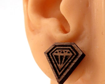 Diamond Soul Sustainable Wooden Post Earrings - Walnut Wood Studs
