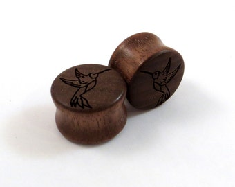 "Hummingbird Walnut Wooden Plugs PAIR  0g (8mm) through 2'' (51mm) - 00g 9mm 10mm 7/16"" 11mm 1/2"" 13mm 9/16"" 14mm 5/8"" and up Wood Ear Gauges"