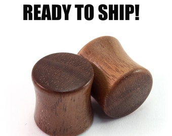 """READY TO SHIP - 7/16"""" (11mm) Walnut Blank Wooden Plugs - Pair - Premade Gauges Ship Within 1 Business Day!"""