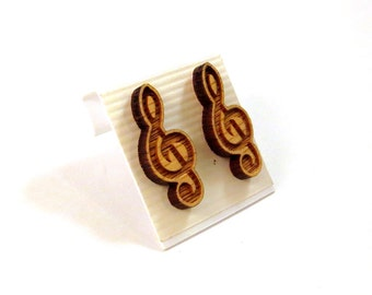 Treble Clef Oak Wooden Post Earrings - Sustainable Wood Music Note Ear Studs