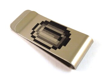 8-Bit Gamer Coin Stainless Steel Money Clip 8 Bit Old School Video Game Billfold