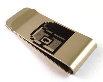 8-Bit Gamer Treasure Chest Stainless Steel Money Clip 8 Bit Old School Video Game Money Box Billfold - Gift for Him - Gamer Gift