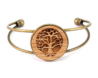 Cuff Bracelet with Sustainably-Harvested Oak Wooden Tree of Life Disc - 2 Finishes