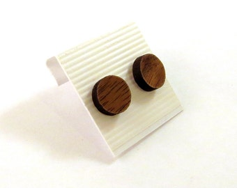Simple Circle Sustainable Wooden Post Earrings - Small - Walnut Round Dot Wood Studs