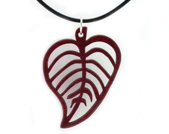"Leaf Wooden Pendant - Oak, Walnut, Red or Black Stained Maple - 2"" tall - Sustainable Wood Jewelry - SHIPS FREE"