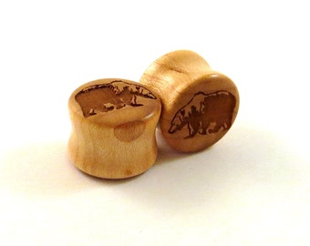 "Grizzly Bear Maple Wooden Plugs - PAIR - 00g (10mm) 7/16"" (11mm) 1/2"" 9/16"" 5/8"" 16mm 3/4"" 19mm 7/8"" 1"" up to 2"" (51mm) Wood Ear Gauges"