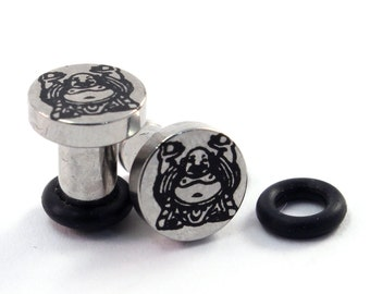 Buddha on 316L Surgical Steel Plugs - Single Flared - 8g (3mm) 6g (4mm) 4g (5mm) 2g (6mm) Single Flare Metal Ear Gauges