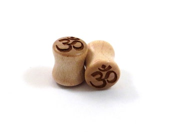 "Om Symbol Maple Wooden Plugs - PAIR - 2g 0g 8mm 00g 9mm 10mm 7/16"" 11mm 1/2"" 9/16"" 5/8"" 16mm 3/4"" 19mm 7/8"" 22mm 1"" and up Wood Ear Gauges"