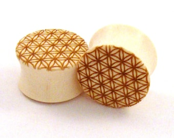 "Sacred Geometry Holly Wooden Plugs - 0g (8mm) 00g (9mm) 7/16"" (11mm) 1/2"" (13mm) 9/16"" (14mm) 5/8"" (16mm) 3/4"" (19mm) Flower of Life Gauges"