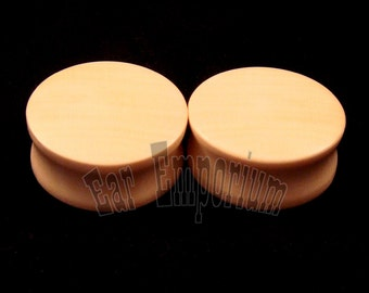 "American Holly Wooden Plugs 2g 0g 00g 000g 7/16"" (11mm) 1/2"" (13mm) 9/16"" (14mm) 5/8"" 16 mm 17.5mm 19mm 20.5mm 22mm 25.5mm 28mm Ear Gauges"
