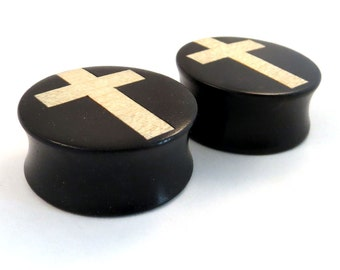 "White Cross Inlay in Ebony Wooden Plugs - 0g (8mm) 00g (9mm) (10 mm) 7/16"" (11mm) 1/2"" (13mm) 9/16"" (14mm) Ear Gauges"