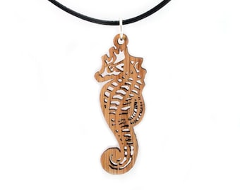 "Seahorse Wooden Pendant - Oak, Walnut, Red Stained Maple, Black Stained Maple - 2.1"" tall - Sustainable Wood Jewelry - SHIPS FREE"