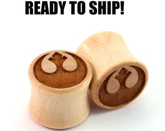 "READY TO SHIP 1/2"" (13mm) Maple Rebellious Wooden Plugs - Pair - Hand-Turned - Premade Gauges Ship Within 1 Business Day!"