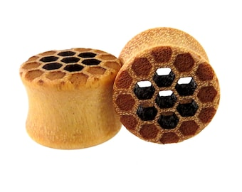 "Cutout Honeycomb on Yellowheart Wooden Plugs 9/16"" (14mm) 5/8'' (16mm) 7/8"" (22mm) 1"" (25.5mm) 1 1/8"" (28mm) 32mm 38mm 44mm Wood Ear Gauges"