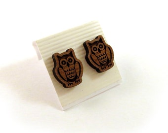 Owl Walnut Wooden Post Earrings - Sustainable Wood Ear Studs