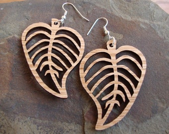 Sustainable Wooden Hook Earrings - Leaves - in Oak, Red-Stained Maple, or Walnut - Wood Dangle Earrings - Nature Lover Gift