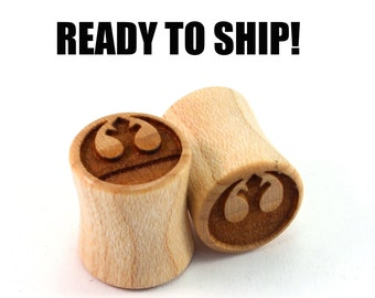 READY TO SHIP - 00g+ (10mm) Maple Rebellious Unusual Grain Wooden Plugs - Pair - Hand-Turned - Premade Gauges Ship Within 1 Business Day!