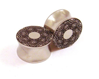 """Abstract Ring Design Surgical Steel Plugs 7/16"""" (11mm) 1/2"""" (13mm) 9/16"""" (14mm) 5/8"""" (16 mm) Metal Gauges"""