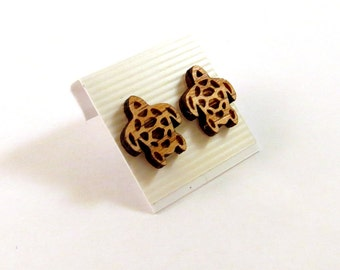 Sea Turtle Oak Wooden Post Earrings - Sustainable Wood Ear Studs