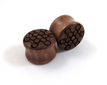 "Metatron Cube Walnut Wooden Plugs PAIR 9/16'' 14mm 5/8"" 16mm 3/4"" 19mm 7/8"" 22mm 1'' 25.5mm 1 1/8'' 28mm and up Wood Ear Gauges"