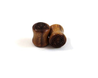 "Trinity Celtic Knot Lignum Vitae Wooden Plugs PAIR 2g 6.5mm 0g 8mm 00g 9mm 10mm 7/16"" 11mm 1/2"" 13mm 9/16"" 14mm 5/8"" and up Wood Ear Gauges"