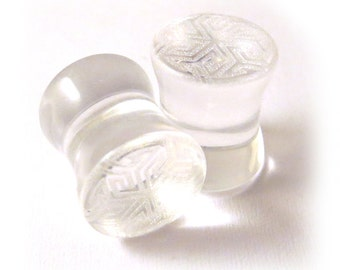 "Maze of Life Clear Glass Plugs 2g (6mm) 0g (8mm) 00g (9mm) (10mm) 7/16"" (11mm) 1/2"" (13mm) 9/16"" (14mm) 5/8"" (16mm) Transparent Ear Gauges"