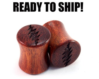 READY TO SHIP - 00g (9mm) Bloodwood 13 Point Bolt Wooden Plugs - Pair - Hand-Turned - Premade Gauges Ship Within 1 Business Day!
